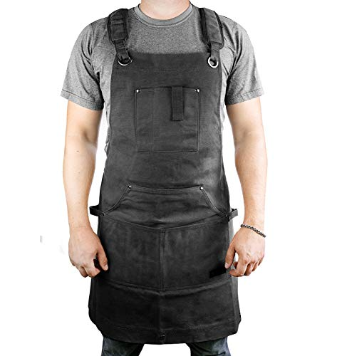 Waterproof Canvas Work Apron for Men and Women, Heavy-Duty Waxed for Durability and Safety - Black