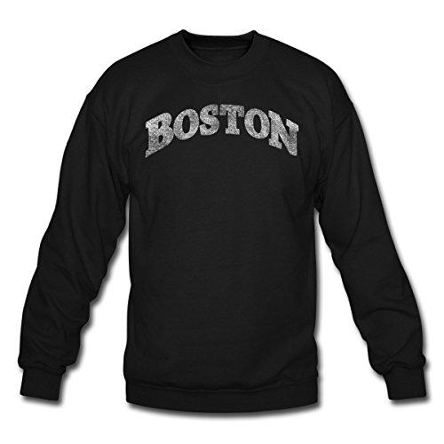 Spreadshirt Distressed Boston Lettering Crewneck Sweatshirt, 2XL, Black Double Arch Crew Sweatshirt