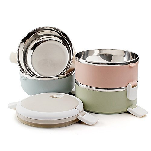 b05ae937967a Amazon.com: Foxtage 3 Tier Metal Lunch Box with Spoon and Fork Set ...