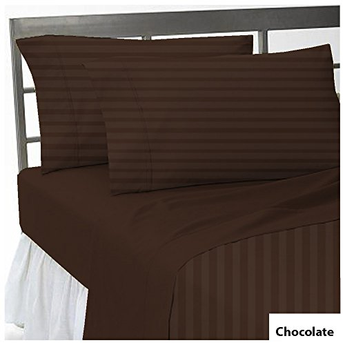 Both Pattern Solid/Stripe 1-Piece- Fitted- Sheet with 21-25 inches Extra Fit Deep Pocket Hotel Finish Adjustable Room 600 Thread Count 100% Egyptian Cotton (King , Stripe Chocolate).