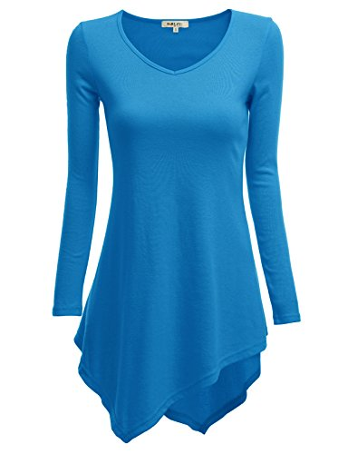 Doublju Women Soft Unbalanced Long Sleeve T-Shirt ROYALBLUE,S