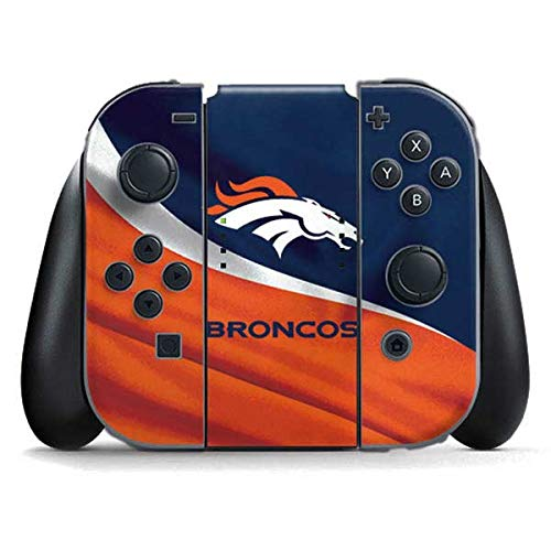 (Skinit Denver Broncos Nintendo Switch Joy Con Controller Skin - Officially Licensed NFL Gaming Decal - Ultra Thin, Lightweight Vinyl Decal Protection)