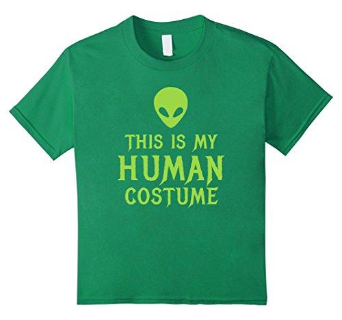 Kids Funny Alien Halloween Costume Shirt for Women Men Kids 6 Kelly Green