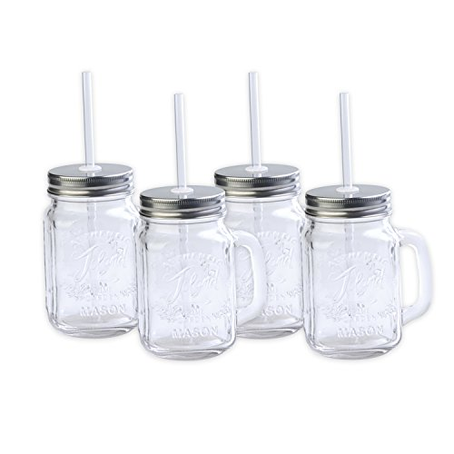 (Toland Home Garden Mason Jar 16 oz Mug (Set of 4), Clear, 1 pint)