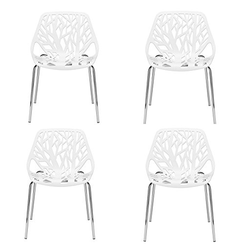 Bistro Fancy Dining Set (Fancy Dining Chairs Set of Four Plastic Metal Chrome Indoor Accent Modern Dining Room Kitchen Table Armless Outdoor Bistro Pub Decorative Large Comfortable Abstract Stackable Space Saving & eBook)