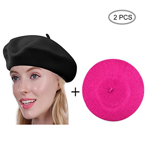 Raylarnia Beret Hat of French Vintage Style, Solid Color Hat 15colors, Elegant Soft Stretch Wool Cap, Lightweight Classic Boinas Winter Beanie-Black/Rose (Cap Classic Lightweight)