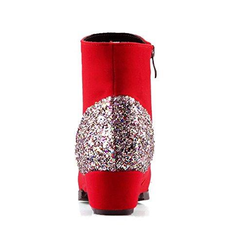AllhqFashion Mujeres Sólido Gamuza(Imitado) Mini Tacón Cremallera Puntera Redonda Botas Rojo