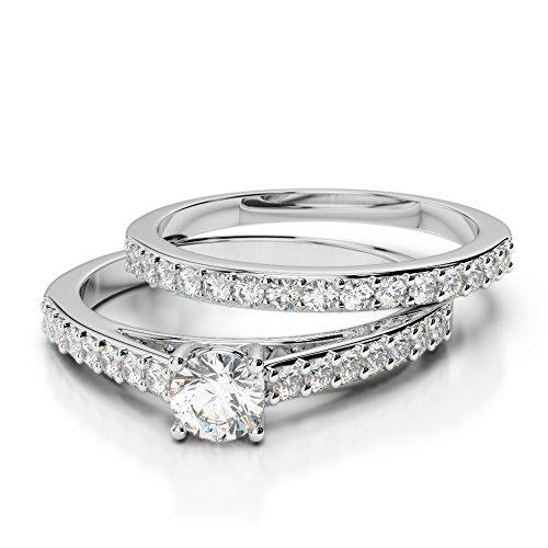 Or blanc 18carats 1CT G-H/VS sertie de diamants Coupe ronde de mariage Bague de fiançailles et ensemble de Agdr-2041