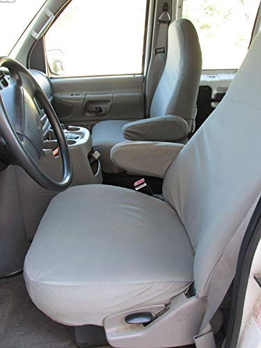 Durafit Seat Covers F362-X7-FBA, 1993-2007 Ford E-Series Van Captain Chairs with One Armrest Per Seat, Exact Fit Seat Covers in Gray Twill ()
