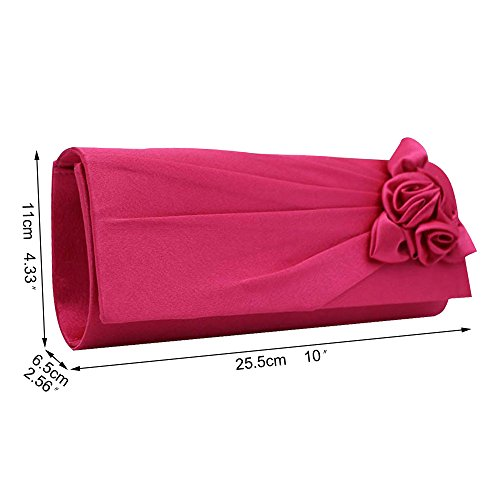 Design Hot Envelope Floral Purse Party pink Satin Wiwsi Pretty Turquoise Pleated Clutch Evening Bag S7wqWEWI