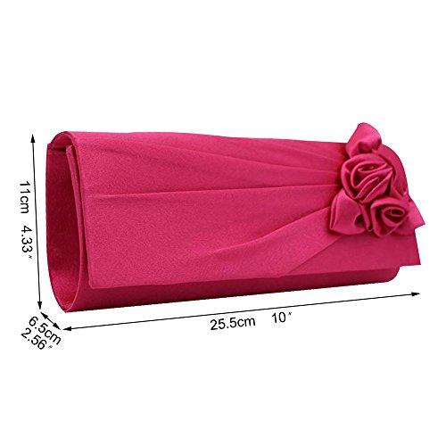 Strap Handbag Shoulder Evening Women's Rose Clutch Bag Wocharm Hot Bouquet Party Wedding Pink With Clutch Satin Eq0CgfwEx