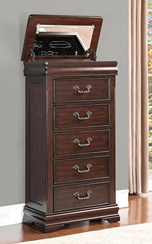 Cherry Finish Lingerie Chest - HEFX Furniture Martel Lift Top Lingerie Chest in Dark Cherry Finish