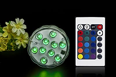 Submersible Led Lights IR Remote Controlled 10-LED RGB Waterproof Battery (Included) Powered Lights for Aquarium, Vase Base, Pond, Swimming Pool, Garden, Party, Fishbowl, Christmas, Halloween
