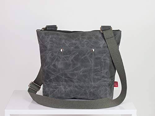 Gray waxed unisex messenger tote bag handmade pocket on front full lining waterproof carry all bag gift idea different color available