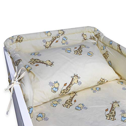 BlueberryShop Cotton Nursery Baby Bedding Set | Duvet Cover 90 x 120 cm | Pillowcase 40 x 60 cm | Cot Bumper 35 x 150 cm | Intended for Kids Aged 0-3 Years | Cream Giraffe from BlueberryShop