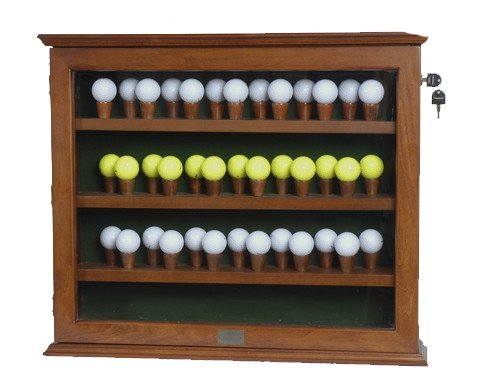 Wall Mount or Free Standing Wooden Glass Display Case for Collectibles with Lock and Reversible Shelves for Golf Balls, Baseballs, Knives, Trains, Model Cars, Etc