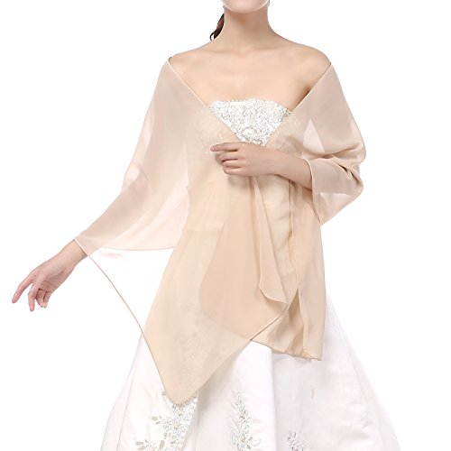 Formal Dress Shawls - Soffte Cloud Sheer Chiffon Women Evening Shawls and Wraps for Dresses Champagne