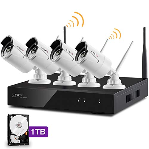 - [Audio Compatible] xmartO Wireless Security Camera System 4CH 1080p HD NVR with 4pcs 960p HD Indoor/Outdoor WiFi Cameras and 1TB HDD, Plug and Play, Easy Remote View & Playback, 80ft IR Night Vision
