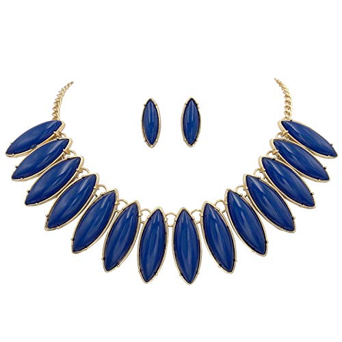 Gypsy Jewels Unique Fan Flair Statement Gold Tone Boutique Chunky Bib Bubble Necklace Earrings Set (Navy Dark Blue)