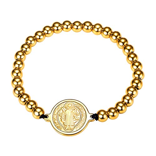 FaithHeart Saint Benedict of Nursia Patron Chain Bracelet Stainless Steel Bead Stretch Bracelet (Gold) - Gold Saint