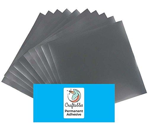 Craftables Silver Vinyl Sheets - Permanent, Adhesive, Glossy & Waterproof | (10) 12