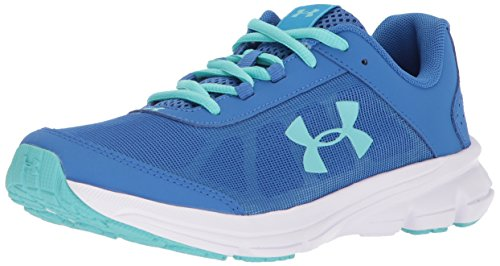 Under Armour Girls' Grade School Rave 2 Sneaker, Mediterranean (400)/Ivory, 5
