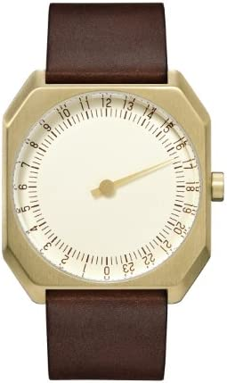slow Jo 18 – Swiss Made one-hand 24 hour watch – Gold with dark brown leather band