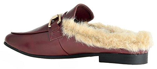 Lusthave Tobogán Chapado En Oro Para Mujer En Slip On Mule Loafer Flats Zapatos Vino W / Fur