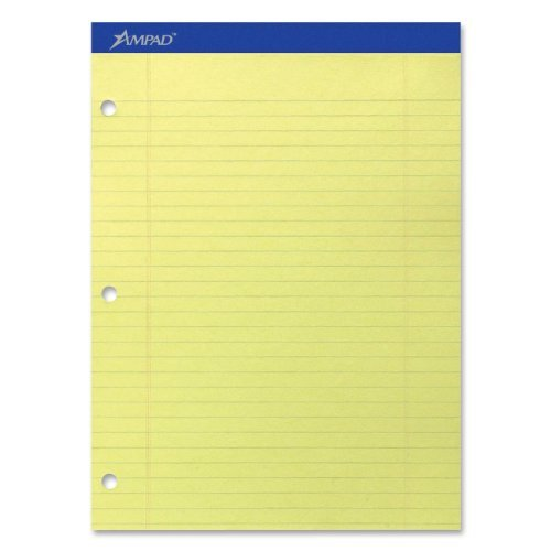 Ampad Evidence Dual Ruled Pad, Legal Ruling, Size 8.5 x 11.75 Inches, Canary Paper, 100 Sheets Per Pad (20-243) by Ampad
