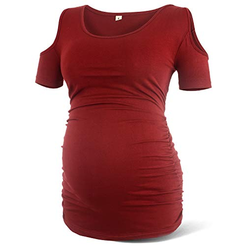 Rnxrbb Women Cold Shoulder Maternity Shirt Short Sleeve Pregnancy Clothes Scoop Neck Side Ruched,Red-S