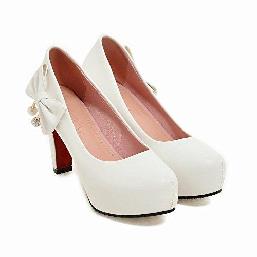 Charme Pied Femmes Élégantes Arcs Plate-forme À Talons Hauts Pompes Chaussures Blanc