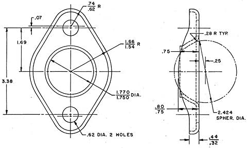 1 3//4 2-Hole Moulded Exhaust Flange Compatible With Honda Khaos Motorsports