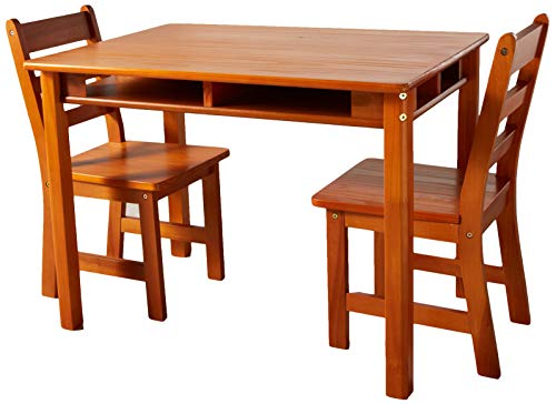 Lipper International 534P Child's Rectangular Table with Shelves and 2 Chairs, Pecan -