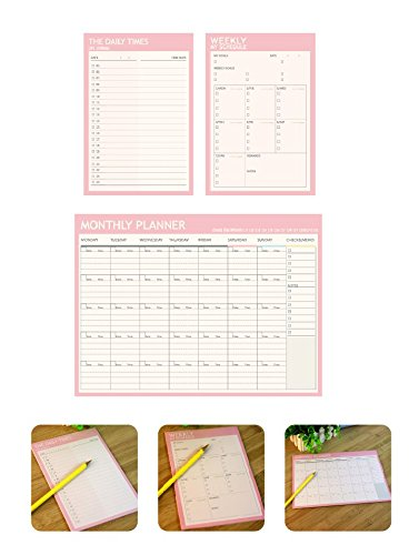 Chris-Wang Daily/Weekly / Monthly Planner Organizer Pads Schedule Goals - Easy to Tear off Sheets - Track Chores, Tasks and Appointments - Pack of 3 (Pink) ()