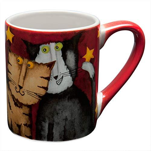 Animal World Cats Hanging Under Stars Red Coffee Mug