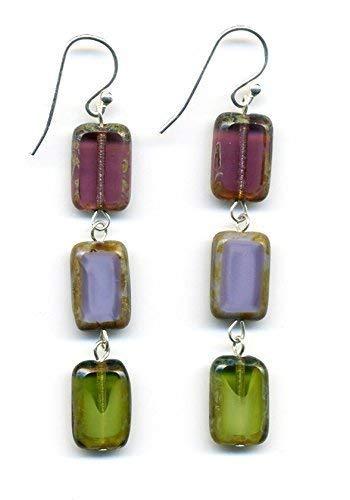 - Glass Bead Rectangle Drop Earrings in Purple and Green, Dangle Earrings, Sterling Silver