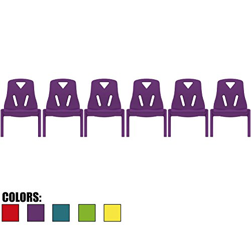2xhome - Set of Six (6) - Purple - Kids Size Plastic Side Chair 10'' Seat Height Purple Childs Chair Childrens Room School Chairs No Arm Arms Armless Molded Plastic Seat Stackable by 2xhome