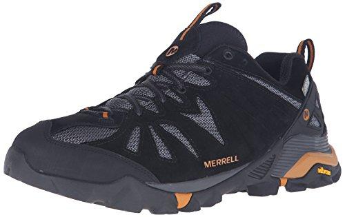 Merrell Uomini Capra Scarpe Da Trekking Impermeabili Nero / Arancio