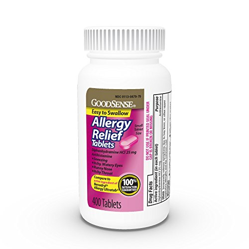 GoodSense Allergy Relief Tablets, Diphenhydramine HCl 25 mg, Antihistamine, 400Count Allergy Pills