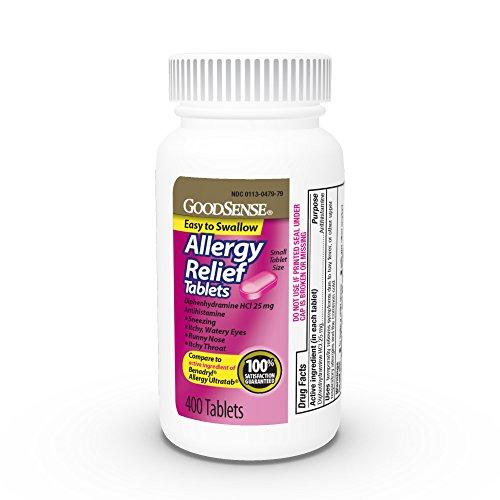 GoodSense Allergy Relief Tablets, Diphenhydramine HCl 25 mg, Antihistamine, 400Count Allergy Pills ()