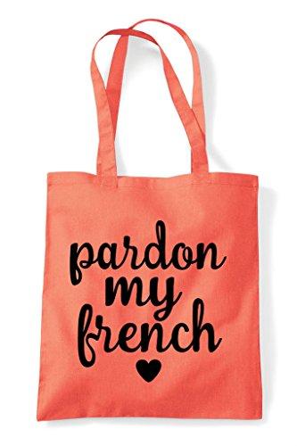 Shopper French Sweary Tote Coral My Statement Bag Pardon EYw5xOzqIx