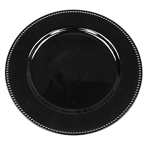BalsaCircle 6 pcs 13-Inch Black Crystal Beaded Round Charger Plates - Dinner Wedding Supplies for all Holidays Decorations