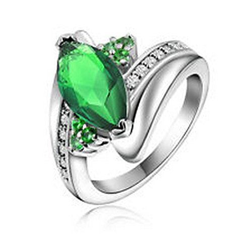 YD Jewels - Women's Size 7 Olive Cut Emerald Gold Filled Anniversary Wedding Rings