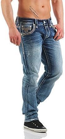 Rock Revival Pantalones Vaqueros De Hombre Clem J200 Azul 34w Amazon Es Ropa Y Accesorios