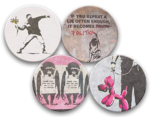 Banksy Street Art Collection - Water Absorbent Ceramic Drink Coasters - Set of 4