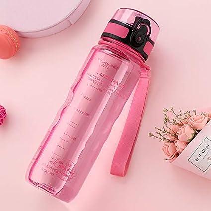 Mdsfe Botella Deportiva Bebida Directa o Botella de Agua de Paja 500ml Bebida portátil de plástico a Prueba de Fugas de Calabaza - Rosa Transparente