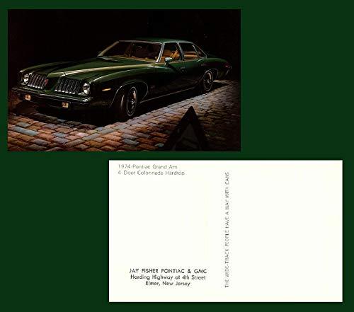 (1974 PONTIAC GRAND AM 4-Door COLONNADE Hardtop FACTORY ORIGINAL COLOR POSTCARD - USA - GREAT VINTAGE POST CARD)