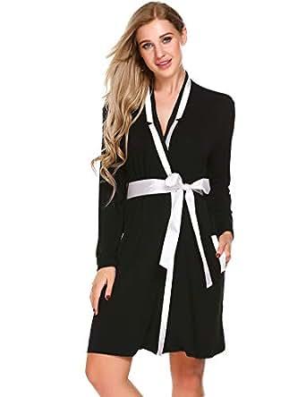 Ekouaer Womens Cotton Robe Long Sleeve Kimono Spa Bathrobes, X-Small, Black