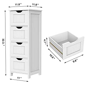 Yaheetech Bathroom Floor Cabinet, Wooden Side Storage Organizer Free Standing Cabinet with 4 Drawers, White