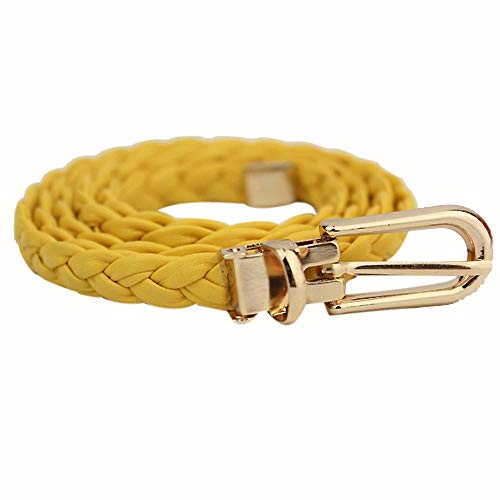 Toimothcn Women Weave Leather Belt Waistband Dress Accessories with Gold Metal Buckle(Yellow,One)